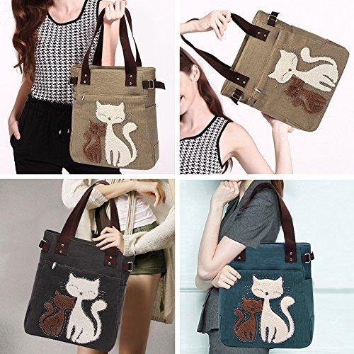 VBIGER Frauen Schultertasche Segeltuch Tasche Niedliche Katzen Tasche Damen Schopper Ideal Geschenk für Damen - 6