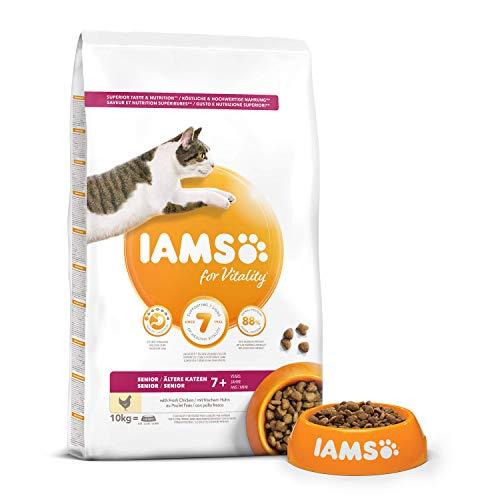 Iams Senior Trockenfutter (für ältere Katzen ab 7 Jahre mit viel Huhn, enthält viel hochwertiges tierisches Protein), 10 kg Beutel - 3