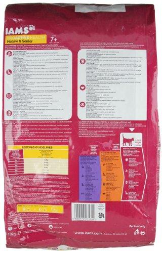 Iams Senior Trockenfutter (für ältere Katzen ab 7 Jahre mit viel Huhn, enthält viel hochwertiges tierisches Protein), 10 kg Beutel - 10