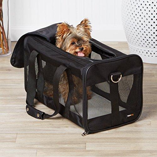 AmazonBasics Transporttasche für Haustiere, weiche Seitenteile, Schwarz, Größe L - 2