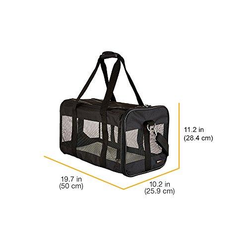 AmazonBasics Transporttasche für Haustiere, weiche Seitenteile, Schwarz, Größe L - 11