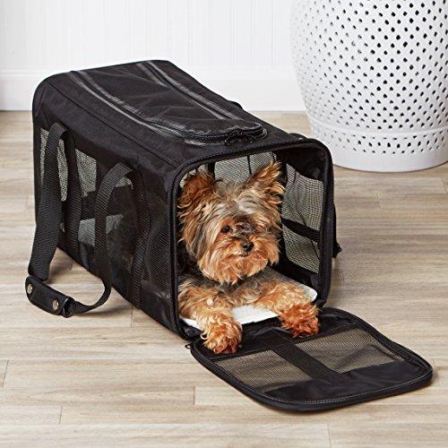 AmazonBasics Transporttasche für Haustiere, weiche Seitenteile, Schwarz, Größe L - 3