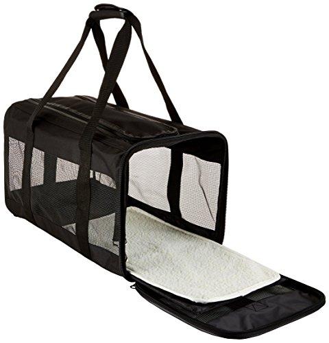 AmazonBasics Transporttasche für Haustiere, weiche Seitenteile, Schwarz, Größe L - 4