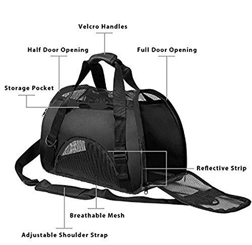 Vicstar Hundetragetasche, Hundetasche, Katzentragetasche, Tragetasche Transportbox, Oxford Tuch + Atmungsaktiv Netzfenster Transporttasche für Kleine Hunde und Katzen, Meistens 4 KG - 2