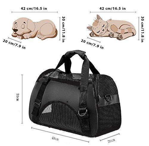 Vicstar Hundetragetasche, Hundetasche, Katzentragetasche, Tragetasche Transportbox, Oxford Tuch + Atmungsaktiv Netzfenster Transporttasche für Kleine Hunde und Katzen, Meistens 4 KG - 4