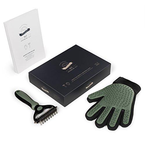 Fellpflege-Set für Hund & Katze - Hundebürste Unterwolle & Katzen-Handschuh, für Hunde- und Katzenhaare - 2
