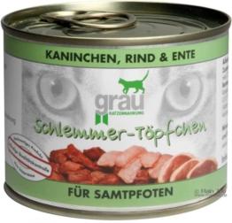 Grau Schlemmertöpfchen Getreidefrei 6 x 200 g - Kaninchen, Rind & Ente